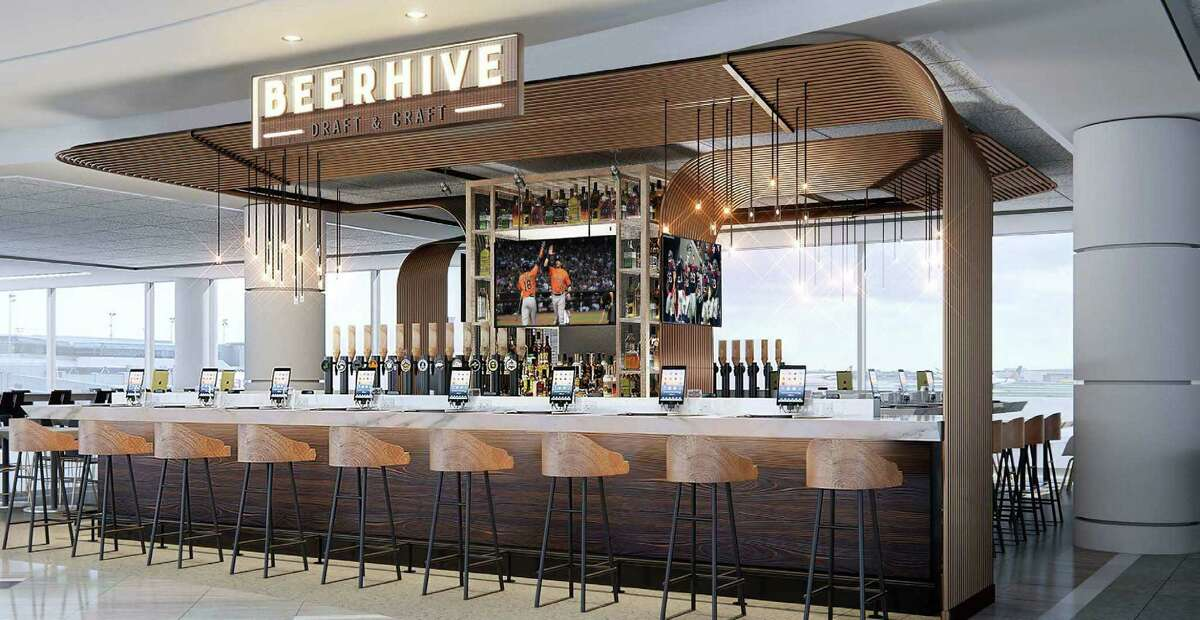 Rendering of Beerhive that will be in Terminal E at Bush Intercontinental Airport. This is part of United Airlines and OTG's multi-million dollar upgrades at Bush Intercontinental Airport.