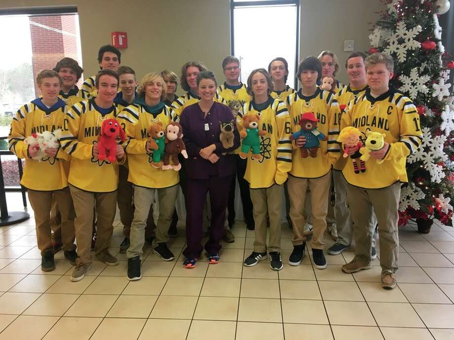 The Midland High Chemics Varsity Hockey Team made a donation of stuffed animals for pediatric patients at MidMichigan Medical Center-Midland.