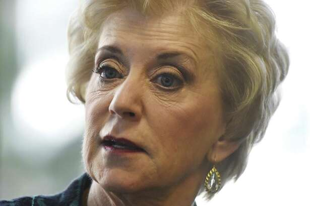"""Connecticut businesswoman and executive Linda McMahon chats in her office in Stamford, Conn. Tuesday, Feb. 2, 2016. McMahon, a former Republican senate nominee, spoke about her new venture, Women's Leadership LIVE - a group of keynotes, panel discussions, group processes and workshops designed to """"educate, inspire and empower women to stand out as catalysts for change and to build a world where women obtaining and exercising power is both expected and commonplace."""""""