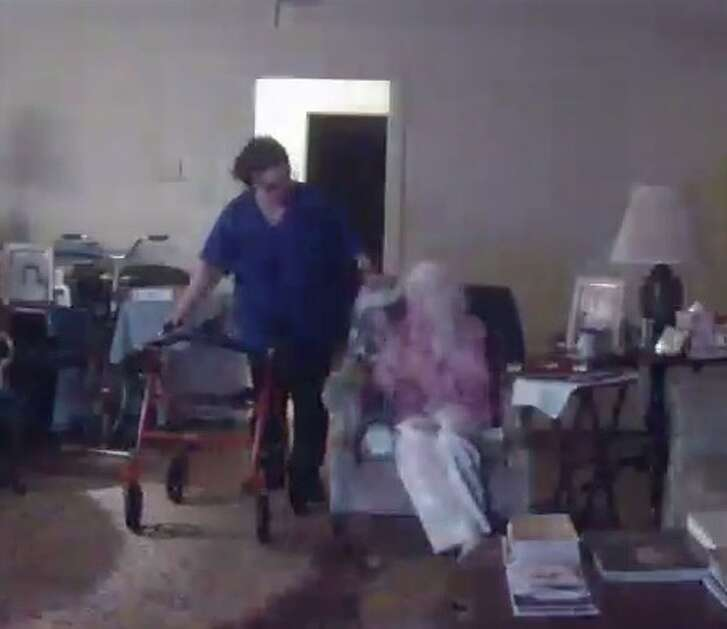 Memorial Villages police are searching for Brenda Floyd, whom they allege is the suspect seen striking an elderly patient in this video shared by Crime Stoppers. Police say the incident occurred Jan. 1, 2017.