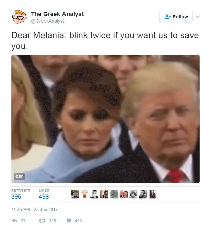 "The internet quickly reacted to the first lady's perceived sadness, telling her to ""blink twice"" if she needed help. Photo: Courtesy/Twitter"