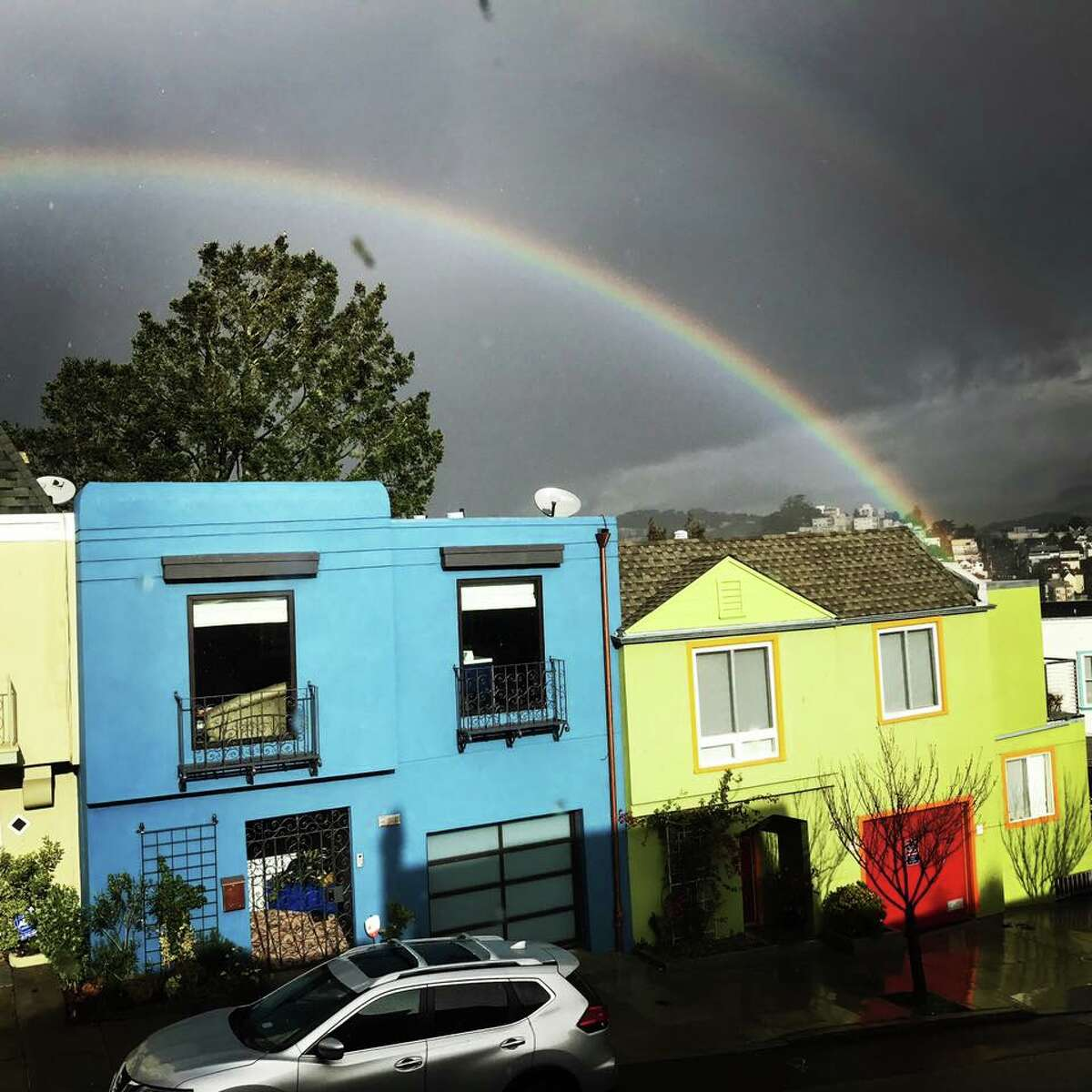 Rainbow appeared outside a San Francisco resident's window on a dreary Monday.