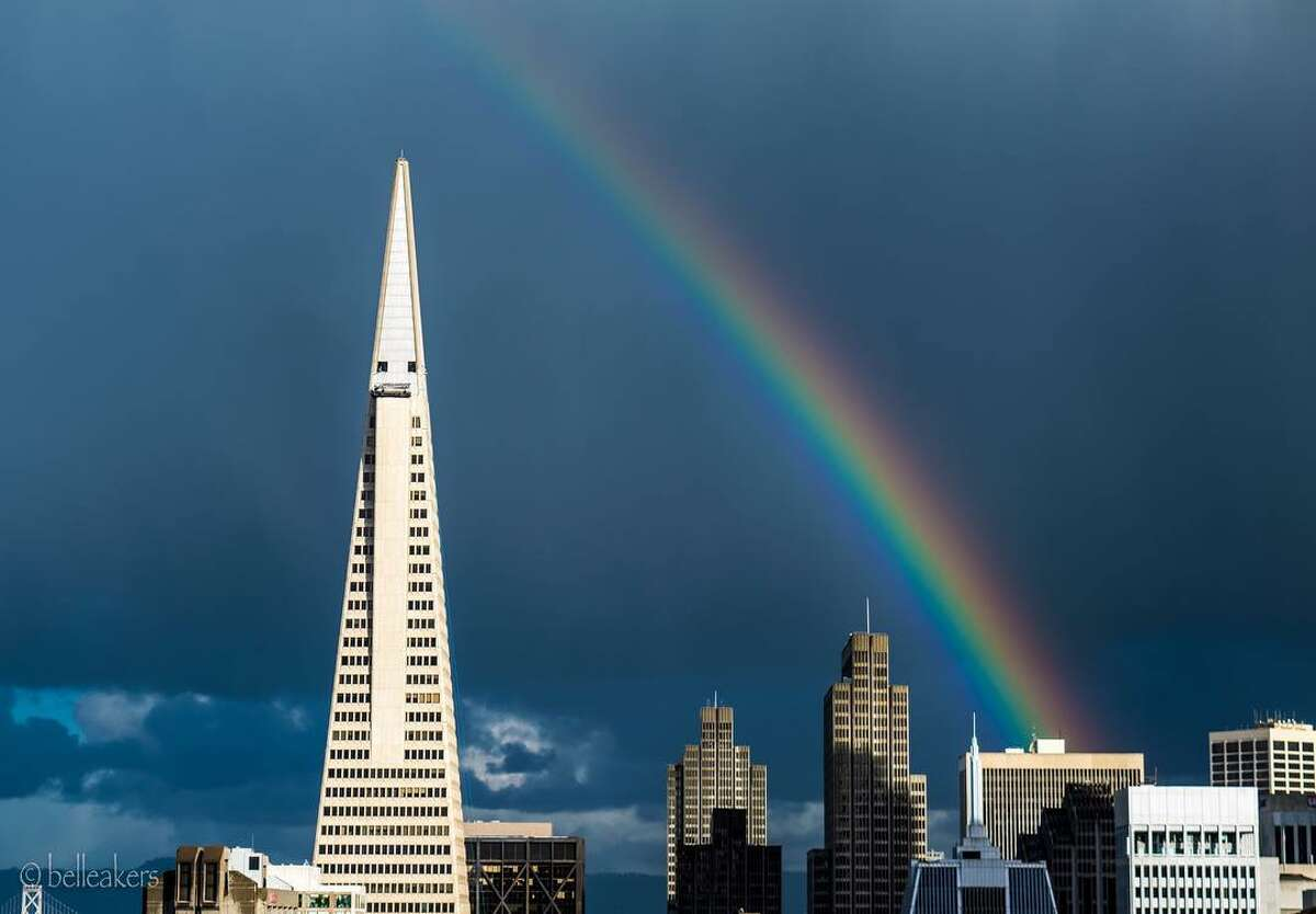 Showery conditions brought rainbows to San Francisco on Jan. 23, 2017.