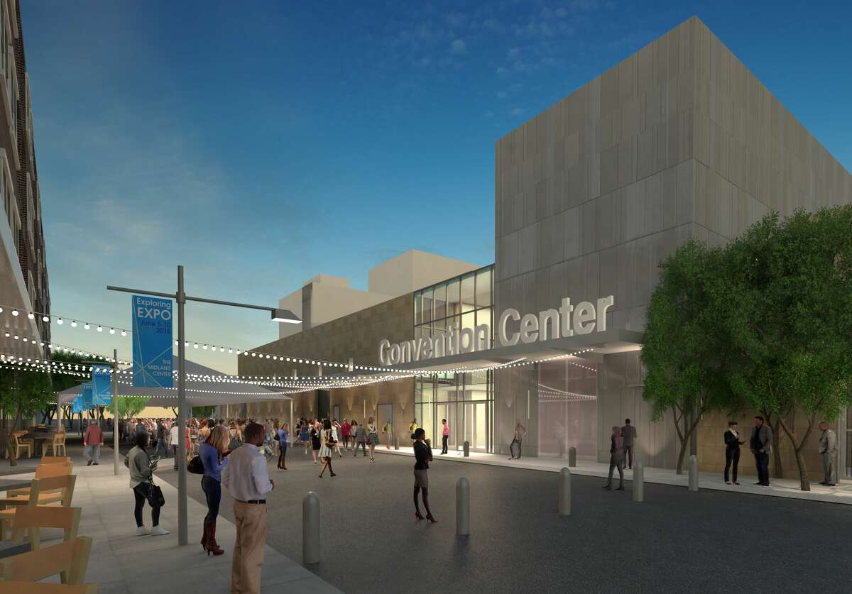 Main Street view of the Midland Convention Center.