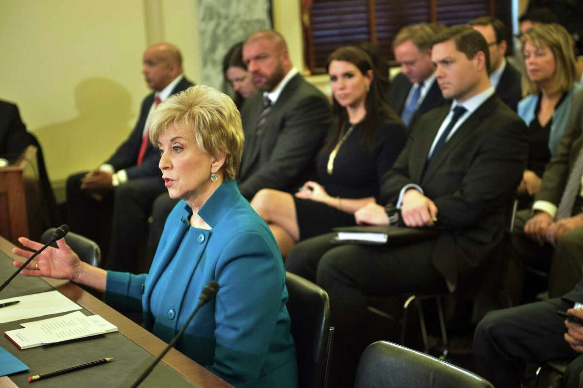 Linda McMahon speaks during her confirmation hearing for administrator of the Small Business Administration before the Senate Small Business and Entrepreneurship Committee on Capitol Hill January 24, 2017 in Washington, DC.