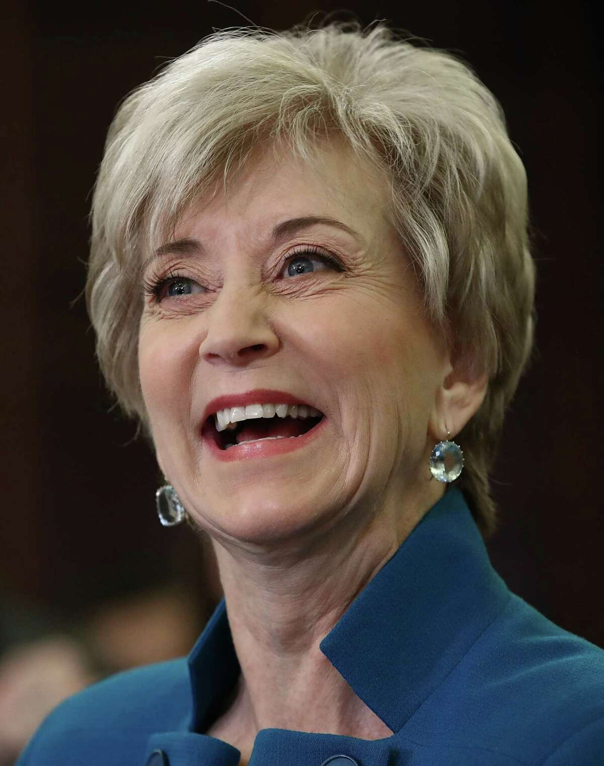 Linda McMahon, U.S. President Donald Trump's nominee to be administrator of the Small Business Administration testifies before the Senate Small Business and Entrepreneurship Committee January 24, 2017 in Washington, DC. The committee heard testimony on McMahon's nomination to the position.