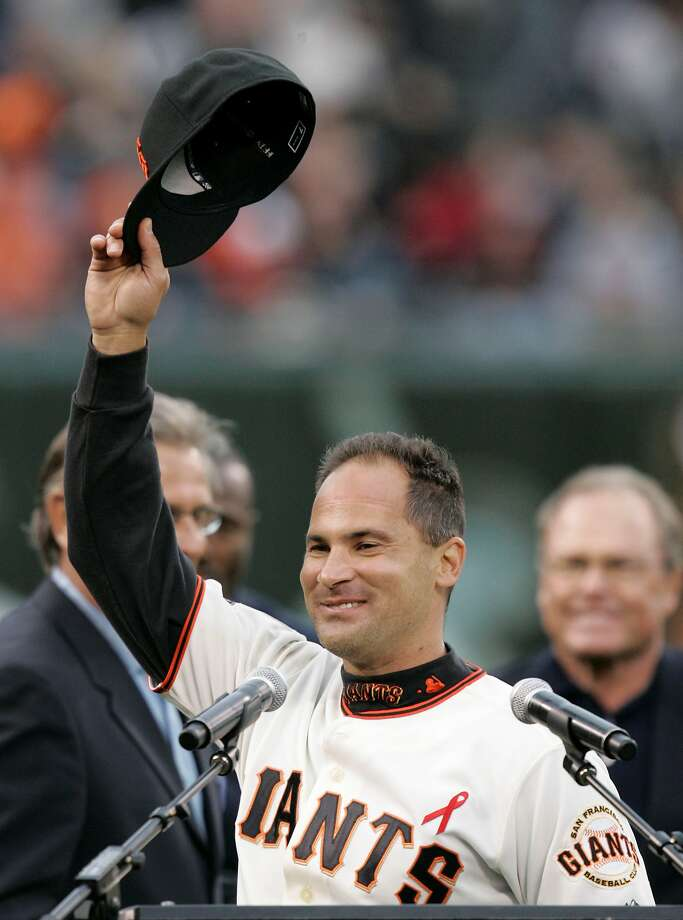 Omar Vizquel, in the last of his four seasons with the Giants, acknowledges an AT&T Park crowd in 2008 while honored for setting the all-time record for games played at shortstop. He surpassed Luis Aparicio, who is in the Hall of Fame. Photo: Marcio Jose Sanchez, AP
