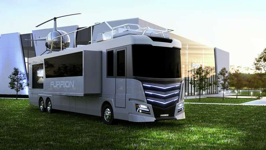 Tech company Furrion showcases Elysium motor home and it comes with a personal helicopter on its roof. Photo: Courtesy Of Furrion