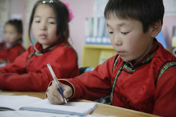 Mongolia, A School And Home For Orphans And Abandoned Children; Ulaan Baatar, Children In Class At Lotus Centre