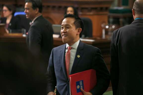 Assemblyman David Chiu arrives for Gov. Jerry Brown's State of the State address at the Capitol in Sacramento, Calif. on Tuesday, Jan. 24, 2017.