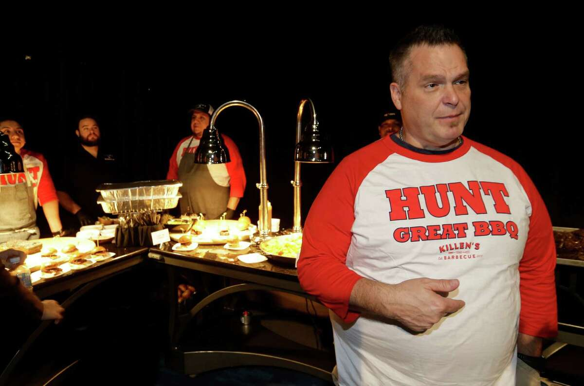 Ronnie Killen visits with people at his booth during the Aramark preview event of Super Bowl LI food and merchandise shown at George R. Brown Convention Center Tuesday, Jan. 24, 2017, in Houston.
