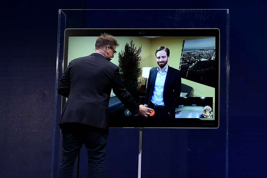 Rowan Trollope, Senior Vice President and General Manager, IoT and Applications, demonstrates how to make a call using the new Cisco Spark Board, a digital whiteboard with cloud-based interactive video conference functions during a Cisco event in San Francisco on January 24, 2017. Photo: JOSH EDELSON, JOSH EDELSON / SAN FRANCISCO CHR
