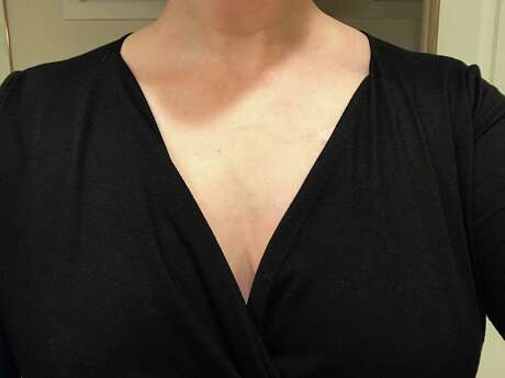 My chest before applying Bosom Couture Boob Glue. And yes, taking boob selfies is as embarrassing as you think it is. Photo: Emily Spicer /San Antonio Express-News
