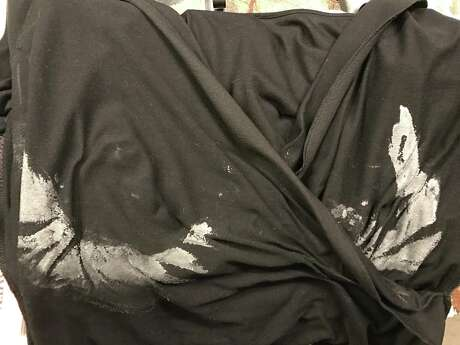 The white streaks left behind on the inside of my blouse after using Bosom Couture Boob Glue. Photo: Emily Spicer / San Antonio Express-News