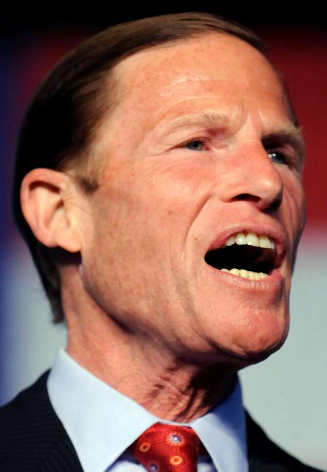 Connecticut state Attorney General Richard Blumenthal gives his acceptance speech at the Democratic State Convention in Hartford, Conn., Friday, May 21, 2010, after he received the nomination to run for the U.S. Senate. (AP Photo/Bob Child) Photo: Bob Child, AP / FR170410 AP