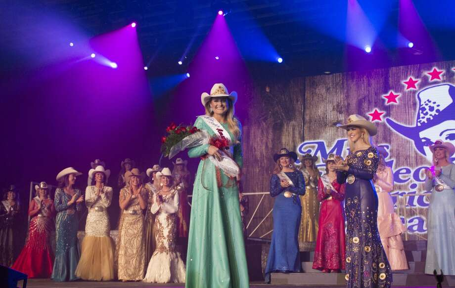 Lisa Lageschaar, 25, takes her victory walk after being crowned 2017's Miss Rodeo America