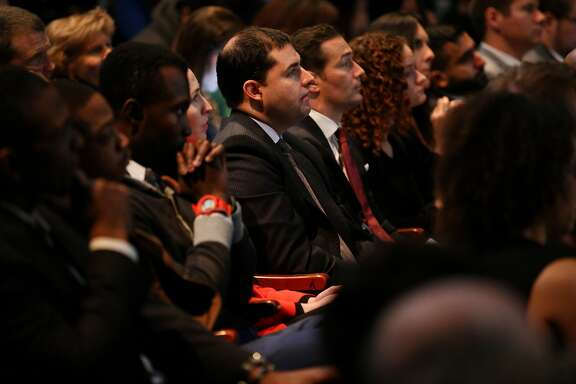 (center) 49ers CEO Jed York listens in during the launch of San Jose State University's Institute for the Study of Sport, Society and Social Change, on Tuesday, Jan. 24, 2017 in San Jose, Calif.