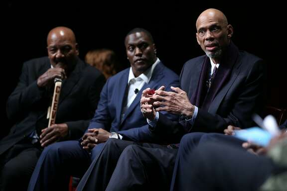"From right: Kareem Abdul-Jabbar, Takeo Spikes and Jim Brown in the ""From Protest to Progress: Next Steps"" panel during San Jose State University's Institute for the Study of Sport, Society and Social Change, on Tuesday, Jan. 24, 2017 in San Jose, Calif."