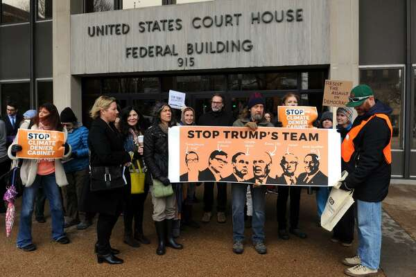 A group of loosely organized people showed up in front of the Federal Courthouse in Bridgeport, Conn., where Sen. Richard Blumenthal has an office, to hold a rally opposing President Trump's cabinet nominations.
