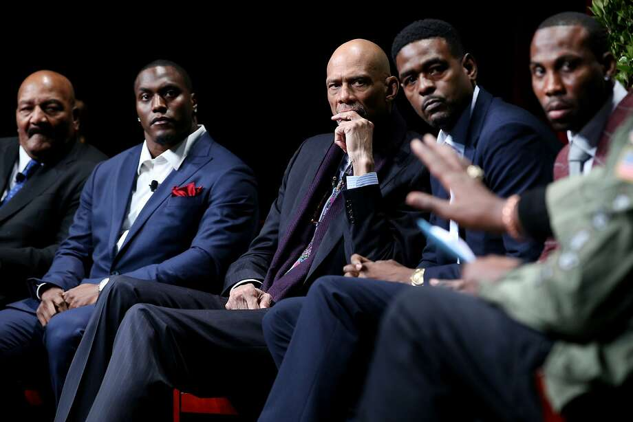 "From left: Jim Brown, Takeo Spikes, Kareem Abdul-Jabbar, Chris Webber and Anquan Boldin listen in to Harry Edwards (not pictured) during the ""From Protest to Progress: Next Steps"" panel in San Jose State University's Institute for the Study of Sport, Society and Social Change, on Tuesday, Jan. 24, 2017 in San Jose, Calif. Photo: Santiago Mejia, The Chronicle"