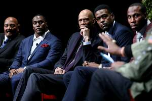 """From left: Jim Brown, Takeo Spikes, Kareem Abdul-Jabbar, Chris Webber and Anquan Boldin listen in to Harry Edwards (not pictured) during the """"From Protest to Progress: Next Steps"""" panel in San Jose State University's Institute for the Study of Sport, Society and Social Change, on Tuesday, Jan. 24, 2017 in San Jose, Calif."""