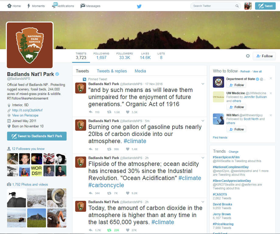 The Twitter account for Badlands National Park let loose some entirely factual but now politically fraught statements regarding climate change on Tuesday afternoon. Photo: Seattlepi.com Screenshot
