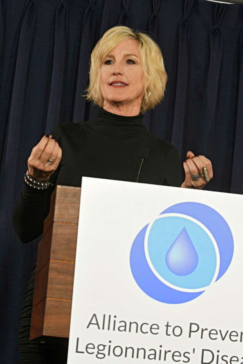 Public health and environmental advocate Erin Brockovich joins the Alliance to Prevent Legionnaires' Disease and the Allergy and Asthma Network as they hold a press conference at the Legislative Office Building on Tuesday, Jan. 24, 2017 in Albany, N.Y. The advocates are calingl on lawmakers and health officials to work towards real, effective solutions to New York's escalating Legionella and Legionnaires' disease crises. (Lori Van Buren / Times Union)