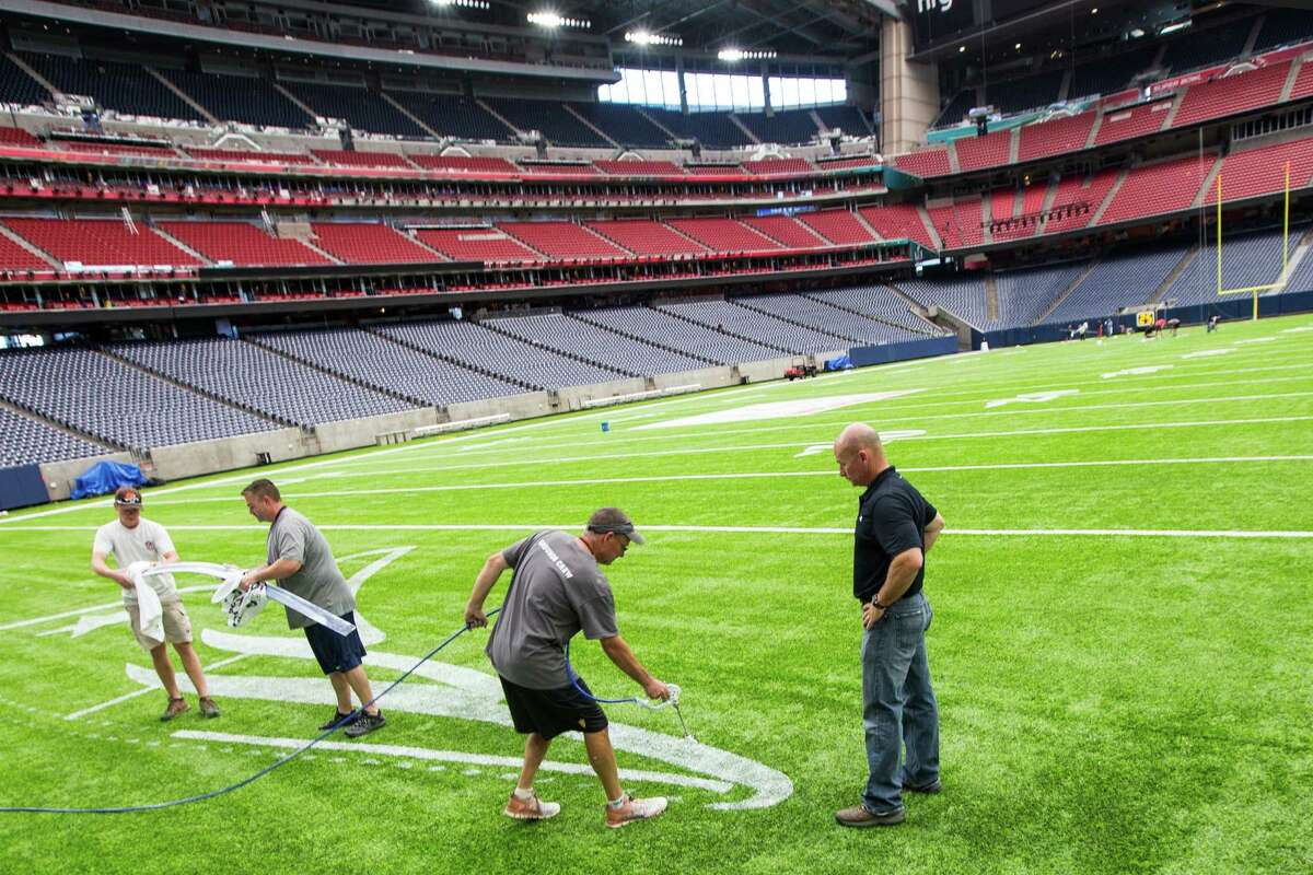 while preparing NRG Stadium for Super Bowl LI on Tuesday, Jan. 24, 2017, in Houston. The New England Patriots play the Atlanta Falcons on February 5, for the NFL title.