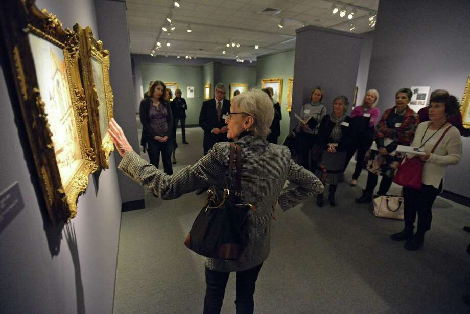 MaryAnne Stevens, an independent art historian talks about the artworks of Alfred Sisley during tour of the French Impressionist Master's paintings on display at the Bruce Museum in Greenwich, Connecticut on Jan. 20, 2017. Photo: Matthew Brown / Hearst Connecticut Media / Stamford Advocate