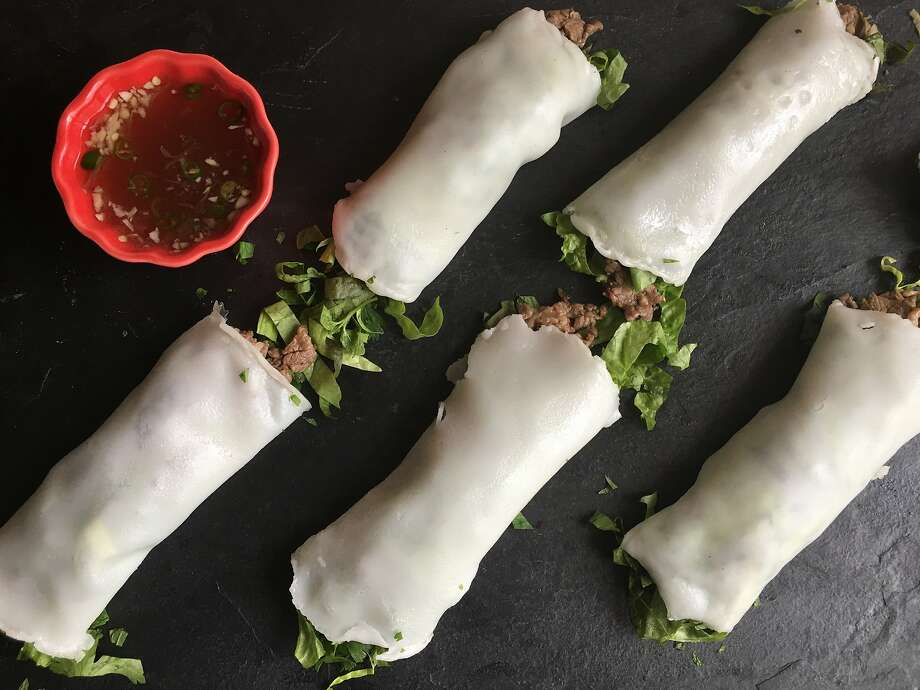 """Fresh Pho Noodle Rolls adapted from Andrea Nguyen's """"The Pho Cookbook"""" (Ten Speed Press). Photo: Sarah Fritsche, Sarah Fritsche/The Chronicle"""