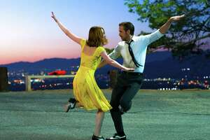 "This image released by Lionsgate shows Ryan Gosling, right, and Emma Stone in a scene from, ""La La Land."" The film was nominated for an Oscar for best picture on Tuesday, Jan. 24, 2017.  The 89th Academy Awards will take place on Feb. 26.  (Dale Robinette/Lionsgate via AP)"
