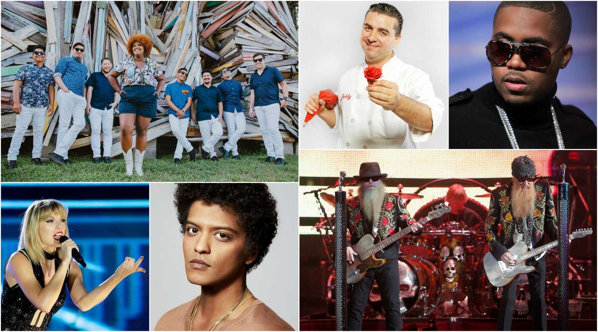 """Clockwise: The Suffers, """"Cake Boss"""" Buddy Valastro, Nas, Taylor Swift, Bruno Mars, and ZZ Top are among the performers set for the Super Bowl extravaganza."""