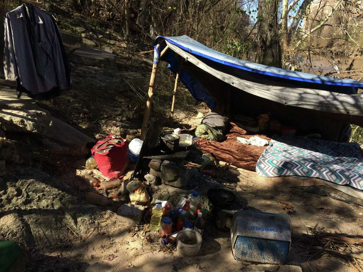 A homeless encampment on the banks of Buffalo Bayou near U.S. 59 in downtown Houston on Tuesday, Jan. 24, 2017.
