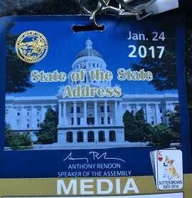 Press passes from the 2017 State of the State speech features images of Sutter Brown, Gov. Jerry Brown's dog who died of cancer in 2016.
