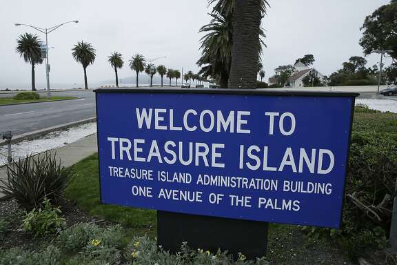 In this Dec. 14, 2016, photo, a sign welcomes visitors to Treasure Island in San Francisco. For nearly a decade, George Lucas has been trying to build a museum for his extensive personal art collection. San Francisco has offered Lucas the site of Treasure Island, across the Bay from the city's popular Embarcadero neighborhood. (AP Photo/Eric Risberg)