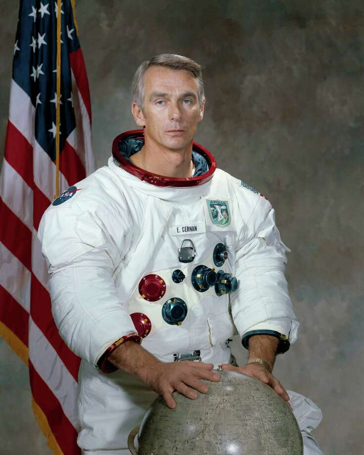 "This undated photo provided by NASA shows astronaut Eugene Cernan. NASA announced that Cernan, the last man to walk on the moon, died Monday, Jan. 16, 2017, surrounded by his family. He was 82. (Harrison J. ""Jack"" Schmitt/NASA via AP) Photo: NASA / AP2011"