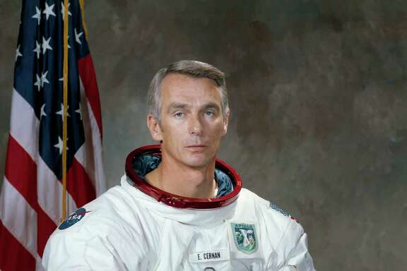 "This undated photo provided by NASA shows astronaut Eugene Cernan. NASA announced that Cernan, the last man to walk on the moon, died Monday, Jan. 16, 2017, surrounded by his family. He was 82. (Harrison J. ""Jack"" Schmitt/NASA via AP)"