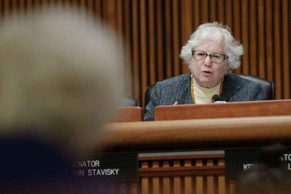 State Senator Toby Ann Stavisky asks a question of Nancy L. Zimpher, State University of New York chancellor, as she testified before the New York State Legislature Joint Budget Hearing on higher education at the Legislative Office Building on Tuesday, Jan. 24, 2017, in Albany, N.Y. (Paul Buckowski / Times Union)