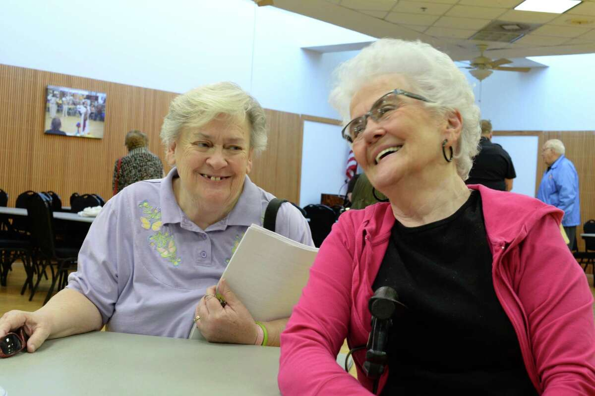 Bonnie Sims, right, and Carolyn Smith recently shared tips on how senior adults can stay informed to avoid being victimized by scammers.