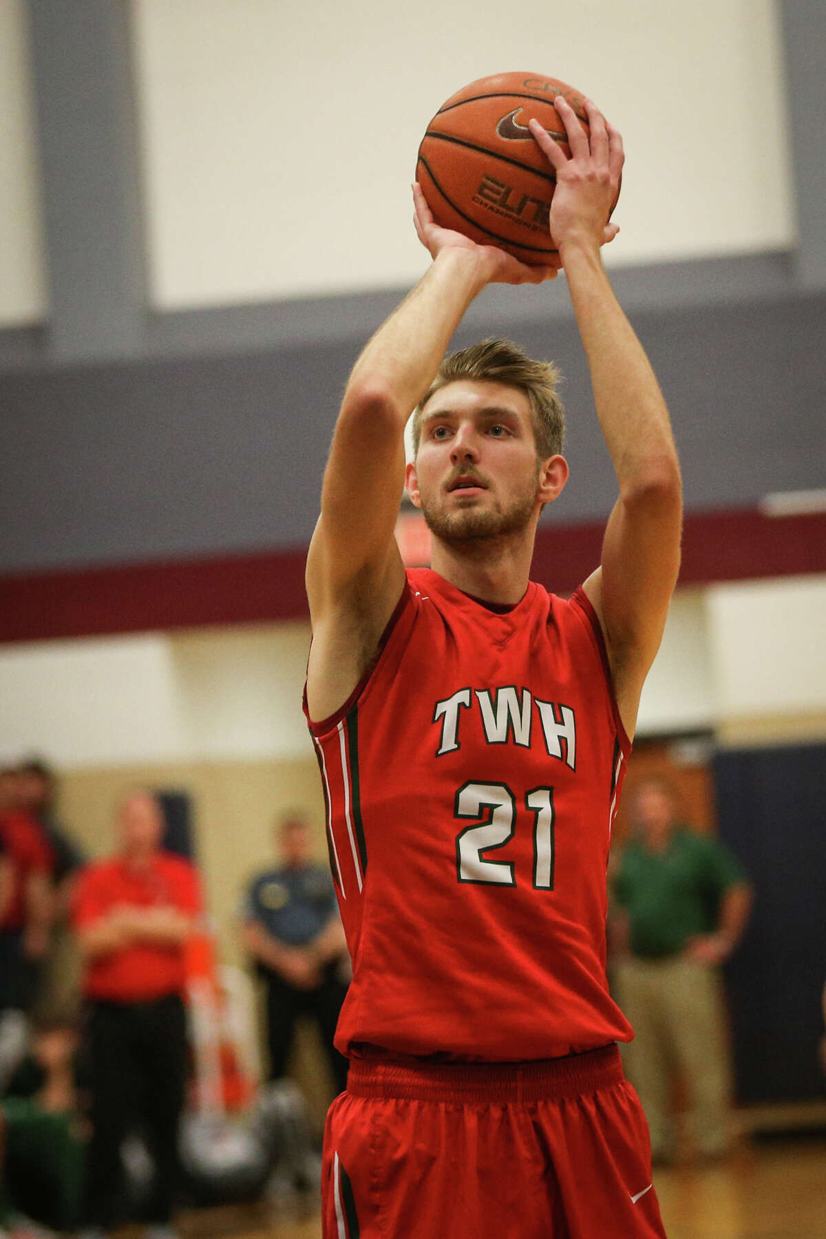 The Woodlands' A.J. Bullard (21) shoots a free-throw during the varsity boys basketball game against College Park on Tuesday, Jan. 24, 2017, at College Park High School. (Michael Minasi / Chronicle)