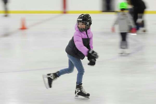 Sasha Yeterian, 7, of Greenwich, skates during the public skating session at Hamill Rink on Sunday.
