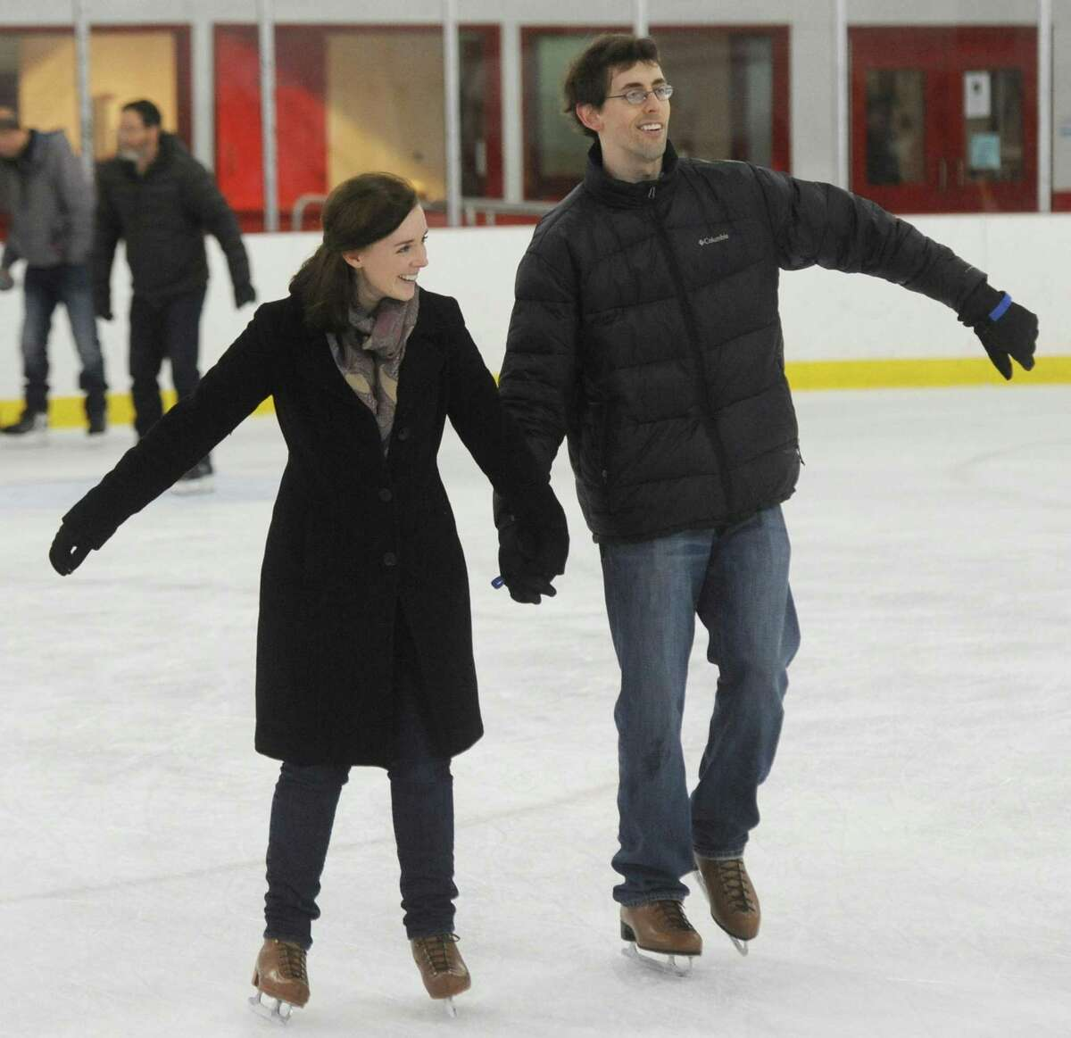 Ann Victor, of Greenwich, and Morgan Carter, of Stamford, hold hands while skating during the public skating session. at Hamill Rink in the Byram section of Greenwich, Conn. Sunday, Jan. 22, 2017. Hamill Rink has public skating on the weekends from 2 p.m. to 4 p.m. as well as several different times throughout the week.
