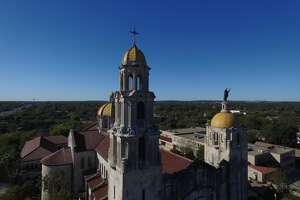 Basilica of the National Shrine of the Little Flower in San Antonio shot via drone by James Peterson.