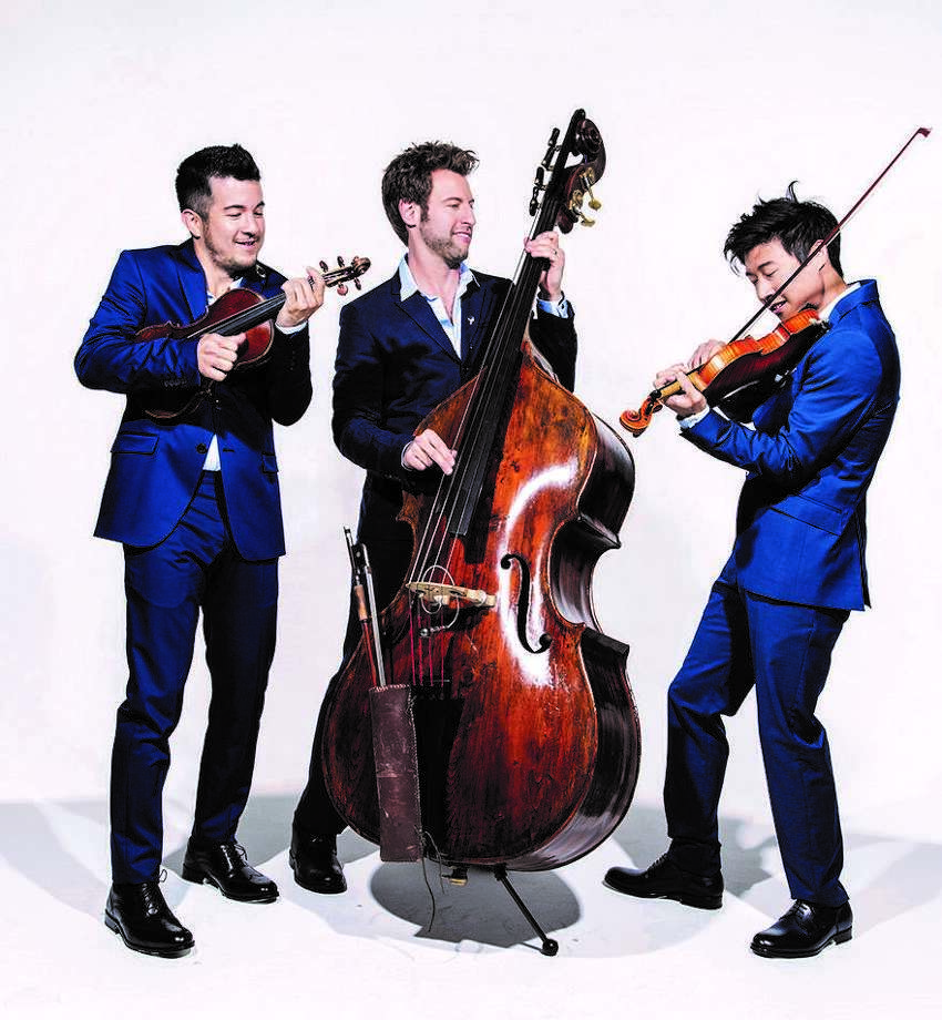 Time For Three featuring Nicolas (Nick) Kendall, violin; Charles Yang violin; and Ranaan Meyer, double bass — carry a passion for improvisation, composing and arranging, all prime elements of the ensemble's playing. The group performs at The Centrum Feb. 4.