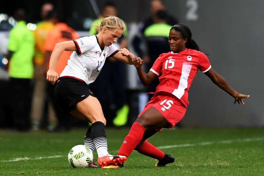 Dash forward Nichelle Prince (15) has been called into the Canadian national team for the Algarve Cup in Portugal. Photo: EVARISTO SA/AFP/Getty Images