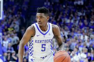 LEXINGTON, KY - JANUARY 07:  Malik Monk #5 of the Kentucky Wildcats dribbles the ball during the game against the Arkansas Razorbacks at Rupp Arena on January 7, 2017 in Lexington, Kentucky.  (Photo by Andy Lyons/Getty Images)