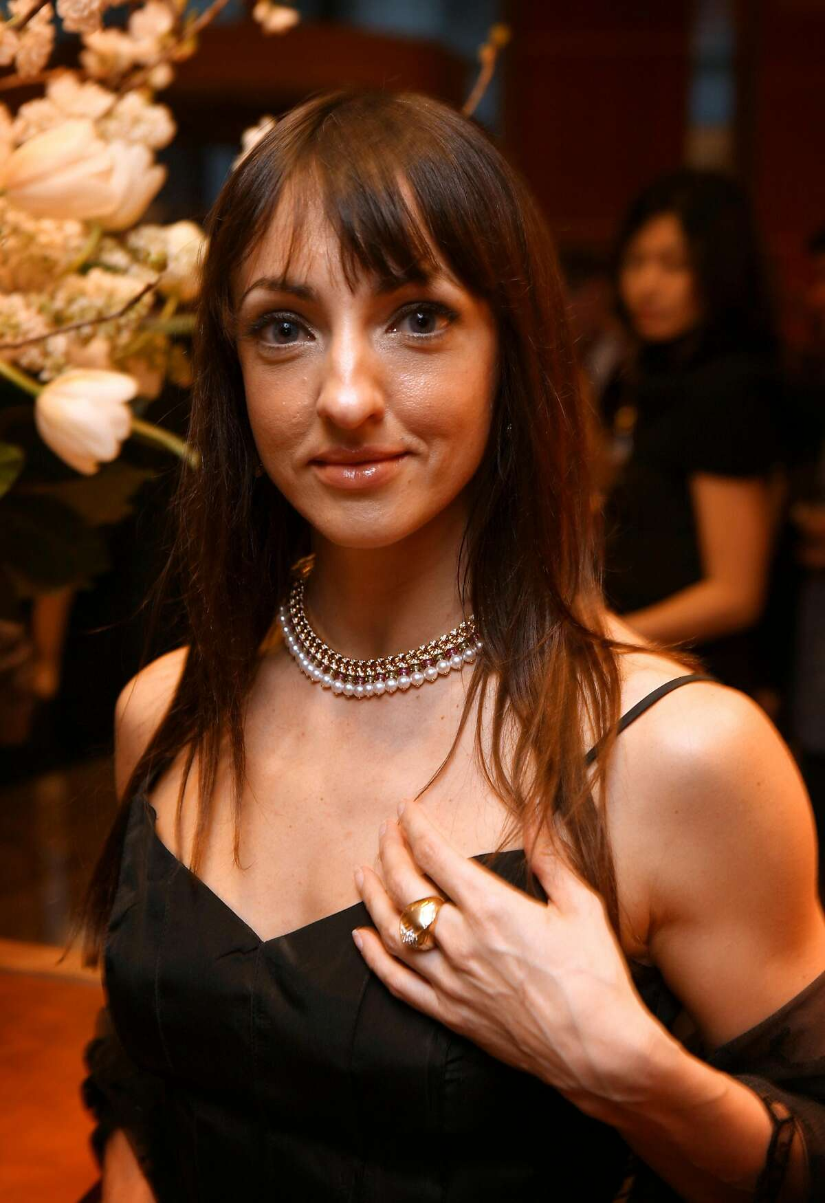 Lorena Feijoo, a ballerina at the SF Ballet, shows off the Parentesi (NEED TO DOUBLE CHECK NAME, NOT SURE ON SPELLING), necklace at the kickoff party for the San Francisco Ballet's New Works Festival held at the Bulgari shop in San Francisco, Calif., Thursday, March 27, 2008. Thor Swift For The San Francisco Chronicle