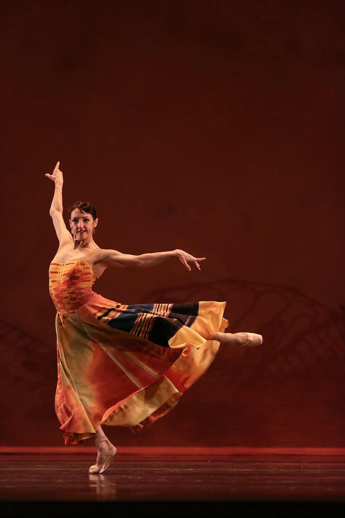 Lorena Feijoo, of the San Francisco Ballet, performs a dress rehearsal of Caniparoli's Lambarena at the War Memorial Opera House in San Francisco on Tuesday, January 27, 2015.