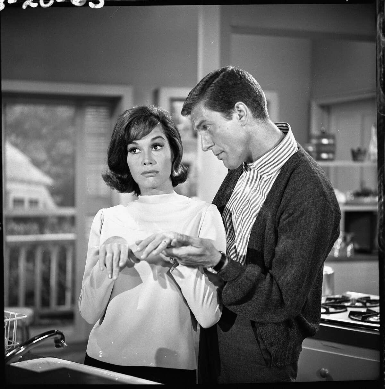 Dick Van Dyke (as Rob Petrie) and Mary Tyler Moore (as Laura Petrie) in