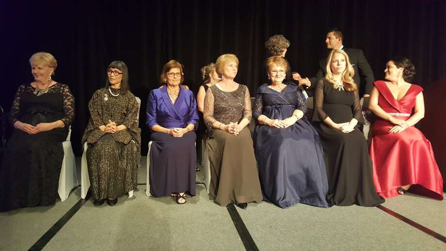 Women of Achievement are seated onstage before the presentation of the 2016 Women of Achievement during the FamilyTime Crisis and Counseling Center Hearts of Gold Gala honoring the 2016 Women of Achievement at the Hyatt Regency Hotel in downtown Houston Saturday, Jan. 21. Photo: Melanie Feuk